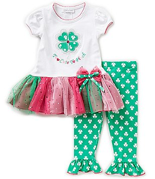 Bonnie Jean Little Girls 2T-6X Too Cute To Pinch St. Patricks Day Tutu Dress & Leggings Set
