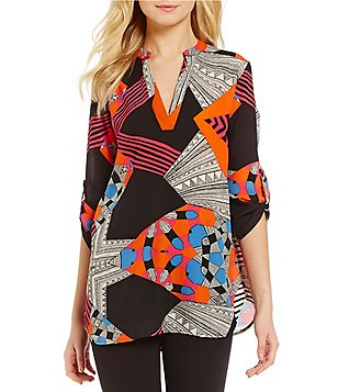 Gibson & Latimer V-Neck Roll-Tab 3/4 Sleeve Mixed Print Tunic