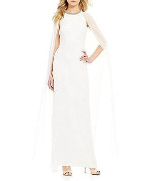 Calvin Klein Beaded-Neck Chiffon Cape Gown