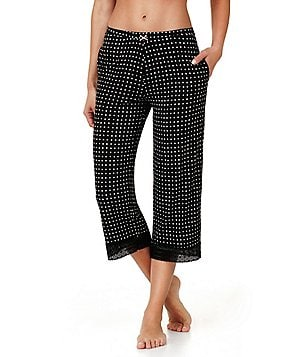 Kensie Dotted Jersey & Lace Capri Sleep Pants