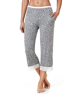 Kensie Floral Jersey & Lace Capri Sleep Pants