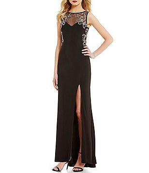 Blondie Nites Bead Outlined Illusion Yoke Long ITY Dress