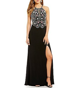 Blondie Nites Halter Neck Keyhole-Front Multi-Color Beaded Bodice Long Dress