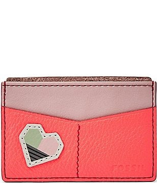 Fossil Heart-Appliquéd Card Case