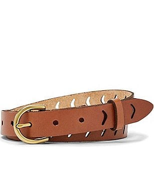 Fossil Arrow Perforated Leather Belt