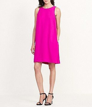 Lauren Ralph Lauren Round Neck Sleeveless Crepe Shift Dress