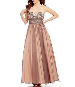 Blondie Nites Two-Tone Beaded Strapless Sweetheart Neck Ball Gown