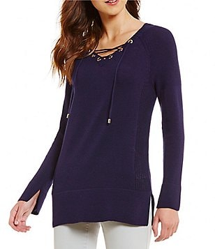 Cremieux Lexis V-Neck Long Sleeve Solid Lace-Up Knit Top