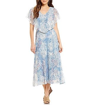 Reba Printed Lace Popover Dress