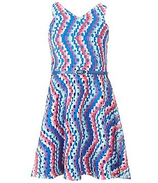 Blush by Us Angels Big Girls 7-16 Printed Belted Scuba Dress