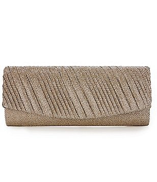 Kate Landry Diagonal Metallic Glitter Mesh Flap Clutch