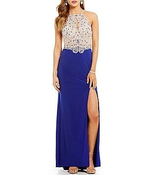 Blondie Nites Keyhole Beaded-Bodice Long Dress