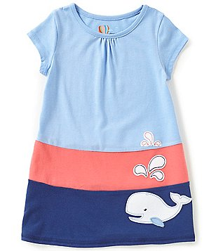 Adventure Wear by Copper Key Little Girls 2T-4T Nautical Color Block Whale Shirred Dress