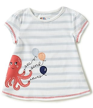 Adventure Wear by Copper Key Little Girls 2T-4T Nautical Horizontal-Stripe Octopus-Appliquéd Tunic Top