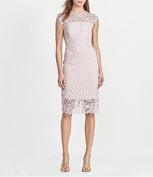 Lauren Ralph Lauren Lace Satin Trim Cap Sleeve Sheath Dress