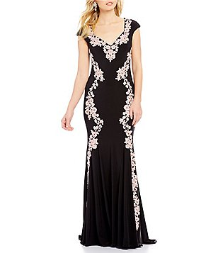 Betsy & Adam Lace Applique Illusion Back Jersey Gown
