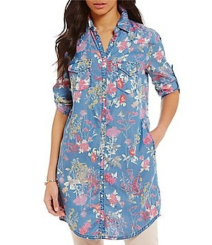 KUT from the Kloth Ruthy Floral Print Denim Button Down Shirt