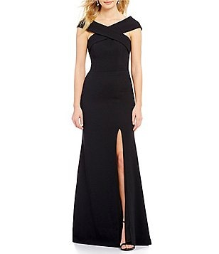 Betsy & Adam Criss-Cross Neckline Off-The-Shoulder Gown