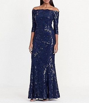 Lauren Ralph Lauren Sequin Off-the-Shoulder Floral Lace Gown