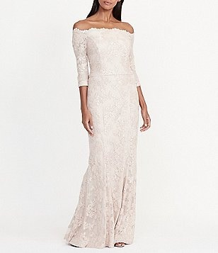 Lauren Ralph Lauren Sequined Floral Lace Off-the-Shoulder Gown