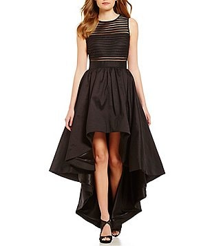 Betsy & Adam Illusion Bandeau Taffeta Mesh Hi-Low Gown