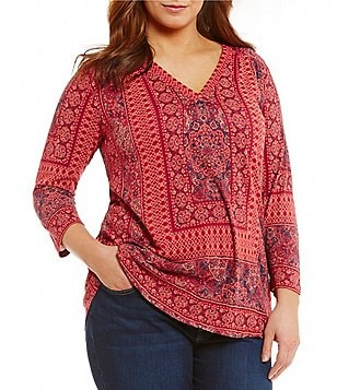 Lucky Brand Plus Knit Border Print Long Sleeve Top