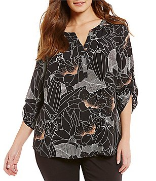 Gibson & Latimer Plus V-Neck Roll-Tab Sleeve Floral Trace Print Blouse