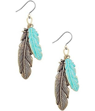 Lucky Brand Patina Feather Drop Earrings