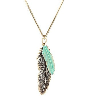 Lucky Brand Patina Feather Pendant Necklace