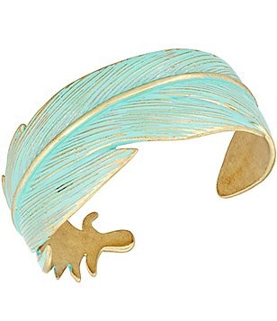 Lucky Brand Patina Feather Open Cuff Bracelet