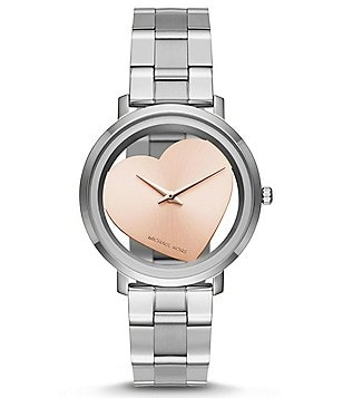 Michael Kors Jaryn Heart Clear-Dial Analog Bracelet Watch