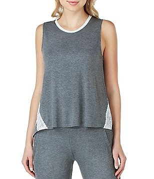 Kensie Jersey & Lace Sleep Tank