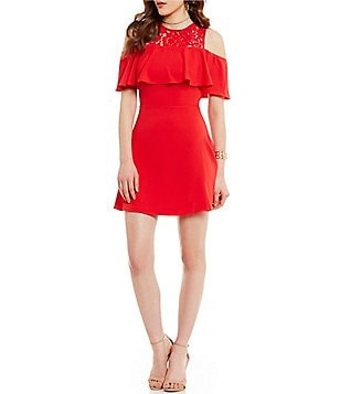 devlin Peggy Cold-Shoulder Lace Short Sleeve Fit-and-Flare Dress