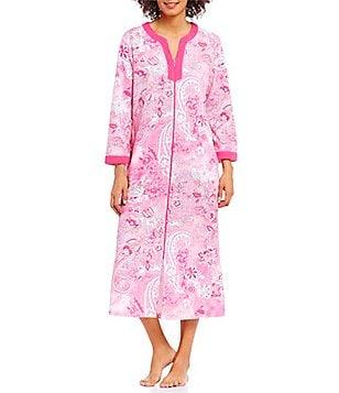 Miss Elaine Paisley Zip-Front Robe