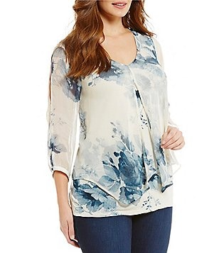 Lucky Brand Plus Natural Floral Print V-Neck 3/4 Sleeve Top