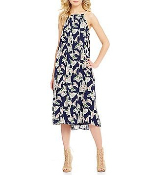 J.O.A. Printed Halter Midi Pleat Dress