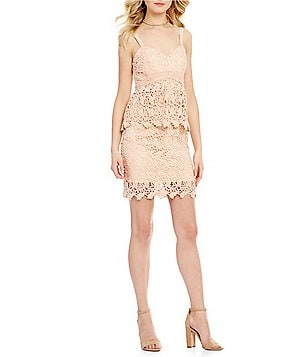 J.O.A. Scalloped Lace Peplum Dress