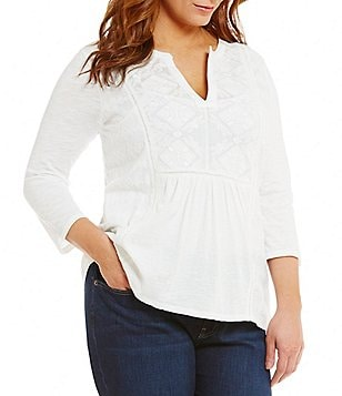 Lucky Brand Plus Embroidered 3/4 Sleeve Split Round Neck Tee