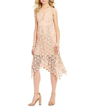 J.O.A. Scalloped Lace Hanky Hem Midi Dress