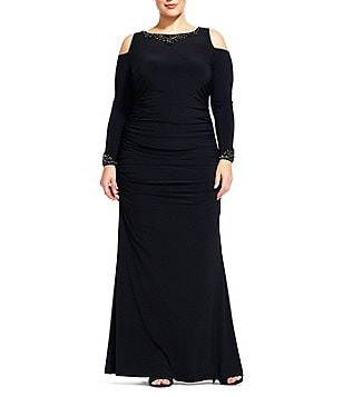 Adrianna Papell Plus Cold-Shoulder Beaded-Neck Gown