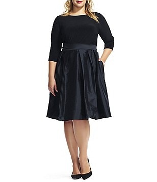 Adrianna Papell Plus Taffeta Fit-and-Flare Party Dress