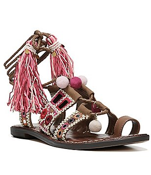 Sam Edelman Gretchen Canvas Leather Embellished Tassel Ghillie Sandals