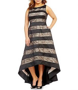 Adrianna Papell Plus Striped Lace Hi-Low Dress