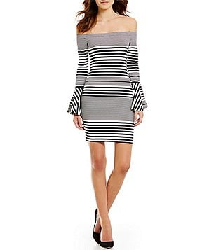 Sugarlips Stripe Off-the-Shoulder Bell Sleeve Printed Sheath Dress