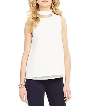 Sugarlips Mock Neck Sleeveless Crop Top