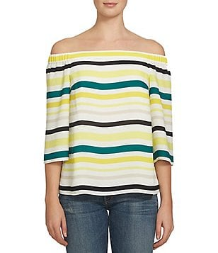 1. STATE Off-the-Shoulder 3/4 Sleeve Striped Blouse