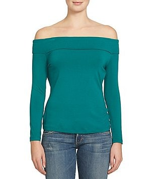 1. STATE Ribbed Off-the-Shoulder Long Sleeve Top
