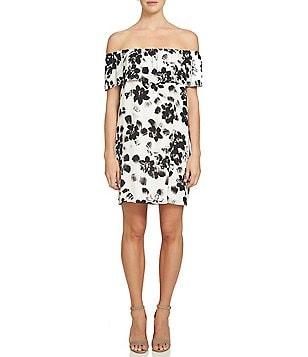 1. STATE Ruffled Off-the-Shoulder Short Sleeve Floral Printed Shift Dress