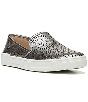 Via Spiga Gavra Intricate Perforated Metallic Leather Slip On Sneakers