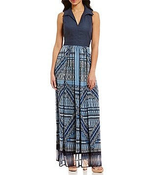 London Times Point Collar Sleeveless Denim Chiffon Maxi Dress